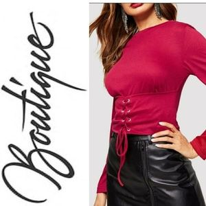 Tops - ❤️Nwt Lace up Corset Blouse